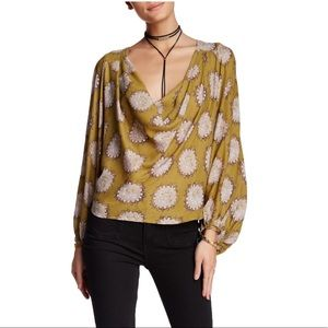 Free People Goldenrod Combo Cowl Neck Blouse